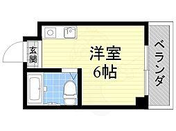 ジオナ柴島1 1階ワンルームの間取り