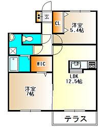 フレッツァ神戸山田A棟[2階]の間取り