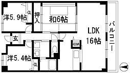 兵庫県西宮市上ケ原十番町の賃貸マンションの間取り