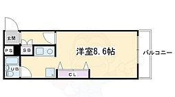 キンブリッジ京都駅西 1階1Kの間取り