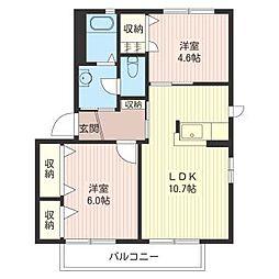 プラテリーアA[2階]の間取り