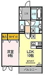 大阪府枚方市牧野下島町の賃貸アパートの間取り