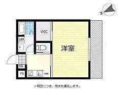 京王線 つつじヶ丘駅 徒歩18分の賃貸アパート 3階1Kの間取り