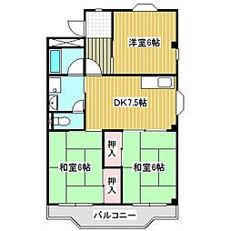 愛知県名古屋市中川区吉津1丁目の賃貸マンションの間取り