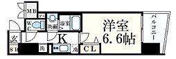 プレサンス神戸元町ミューズ 14階1Kの間取り