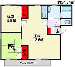 プリマベーラ D棟[2階]の間取り