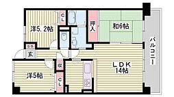 兵庫県神戸市西区水谷の賃貸マンションの間取り