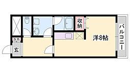 JR播但線 寺前駅 徒歩20分の賃貸マンション 2階ワンルームの間取り