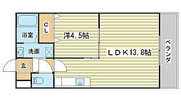 兵庫県姫路市別所町別所1丁目の賃貸マンションの間取り