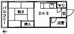 亀井荘[201号室]の間取り