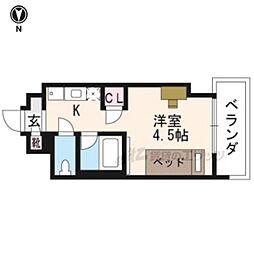 キャンパスヴィレッジ京都西京極 4階ワンルームの間取り