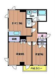 東京都立川市砂川町2丁目の賃貸マンションの間取り