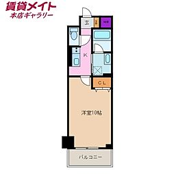 近鉄名古屋線 近鉄四日市駅 徒歩5分の賃貸マンション 8階1Kの間取り