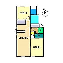 メゾン・デュ・ソレイA[1階]の間取り