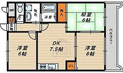 Osaka Metro長堀鶴見緑地線 横堤駅 徒歩6分の賃貸マンション 7階3DKの間取り