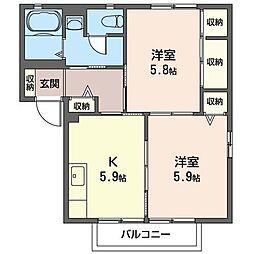 ウエル・コートC[2階]の間取り