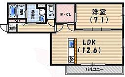 ジョイフルハイツ実り 3階1LDKの間取り