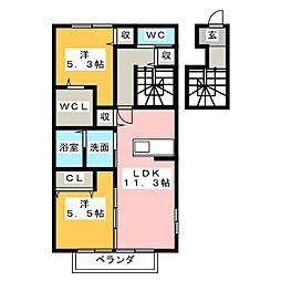 クリーンハイツ砂島 A棟[2階]の間取り
