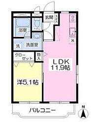 パークマンション旭駅前II 1階1LDKの間取り