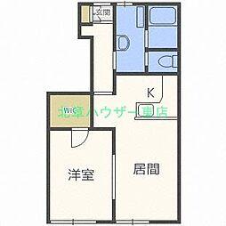 北海道札幌市西区八軒十条西1の賃貸アパートの間取り