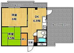 塚口KRマンション[4階]の間取り
