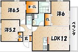 福岡県北九州市小倉南区南方2丁目の賃貸アパートの間取り