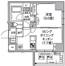 JR山手線 神田駅 徒歩10分の賃貸マンション 7階1LDKの間取り