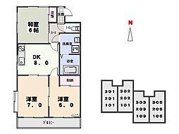 群馬県太田市由良町の賃貸アパートの間取り