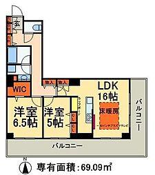 ロイヤルパークスタワー南千住 6階2LDKの間取り
