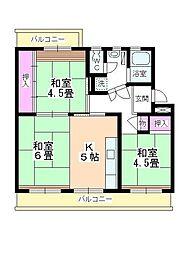 笠幡団地 11号棟[4階]の間取り