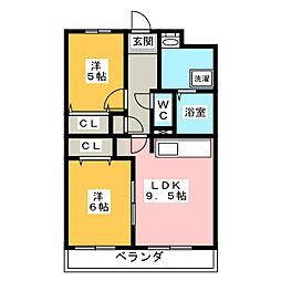 静岡県浜松市浜北区染地台1の賃貸マンションの間取り