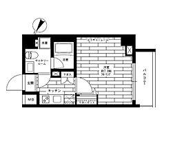 東京メトロ半蔵門線 水天宮前駅 徒歩2分の賃貸マンション 2階1Kの間取り