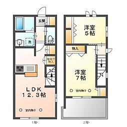 JR中央線 東小金井駅 徒歩20分の賃貸マンション 2階2LDKの間取り