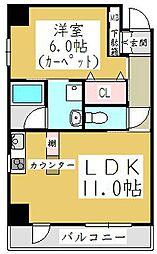 埼玉県川口市南鳩ヶ谷4丁目の賃貸マンションの間取り