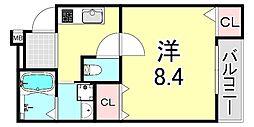 フジパレス吹田寿町V番館 2階1Kの間取り