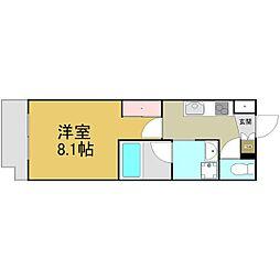 名古屋市営名港線 六番町駅 徒歩4分の賃貸マンション 3階1Kの間取り