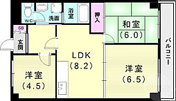 ゴールドクレスト垂水 3階3LDKの間取り