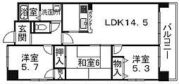 滋賀県栗東市綣1丁目の賃貸マンションの間取り
