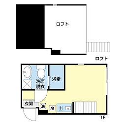 京急空港線 穴守稲荷駅 徒歩11分の賃貸アパート 1階ワンルームの間取り