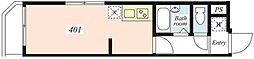 JR山手線 恵比寿駅 徒歩10分の賃貸マンション 4階ワンルームの間取り