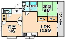 兵庫県伊丹市緑ケ丘4丁目の賃貸マンションの間取り
