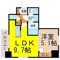 名古屋市営名城線 東別院駅 徒歩3分の賃貸マンション 11階1LDKの間取り