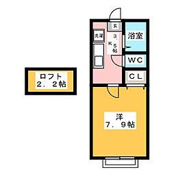 ホワイトキャッスル遠見塚7番館[2階]の間取り