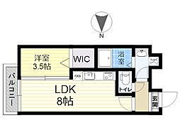 餅ヶ浜マンション(仮) 2階1LDKの間取り