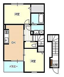 JR羽越本線 水原駅 徒歩11分の賃貸アパート 2階2DKの間取り