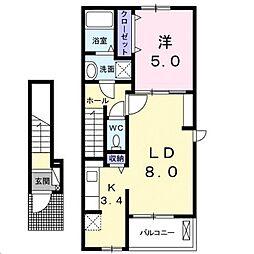 広島県福山市蔵王町の賃貸アパートの間取り