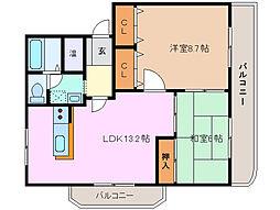 三重県四日市市白須賀1丁目の賃貸マンションの間取り