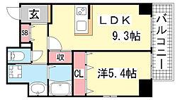 JEUNESSE北野[6A号室]の間取り