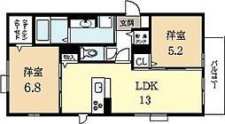 アラモード寺田[2階]の間取り