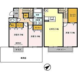 [テラスハウス] 兵庫県神戸市北区八多町中 の賃貸【兵庫県 / 神戸市北区】の間取り